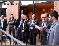 Lectura del pregón Fungitur 2014 por el periodista Pablo García Mancha desde el balcón del Ayuntamiento.